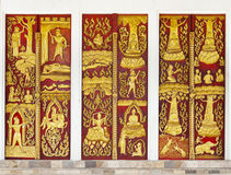 Thai ancient carving wooden door Royalty Free Stock Photography