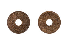 Thai ancient coin. Built in 2484 Royalty Free Stock Photo