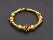 Thai ancient style golden bracelet Stock Images