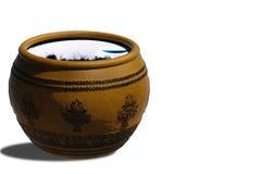Thai ancient water jar. Stock Photo