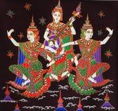Thai angel. Thai dance paintings on silk Stock Photos