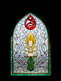 Thai angel stain glass in Srinakarinthara Mahasandhikiri Pagoda Stock Photo