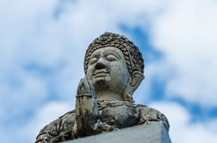 Thai angel statue. Blue sky background stock image