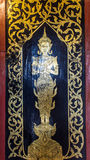 Thai angle door in chapel Royalty Free Stock Image