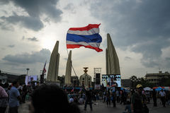 Thai anti-government protests at Democracy Monument Stock Photo