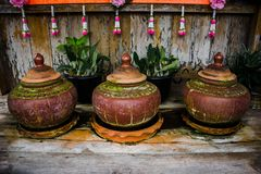 Antique clay pot earth ware for drinking water stock image