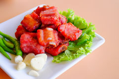 Thai appetizer, fried pork ribs Stock Photo