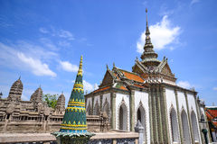 Thai architecture in royal temple. And bright blue sky Stock Image