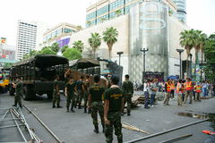 Thai army and BMA workers clearing protest site Royalty Free Stock Photography