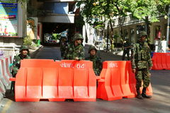 Thai army checkpoint on silom road. Near soi convent, 2 days after the violent clashes between the thai army and red shirts, bangkok, thailand stock photos