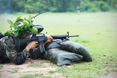 Thai Army on the Gunnery drills. Soldiers in uniform of the Thai Army on the Gunnery drills stock photography
