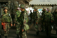 Thai army patrol in siam square Stock Photo