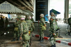 Thai army patrol in siam square Stock Image