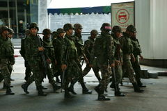 Thai army patrol in siam square Royalty Free Stock Photo