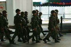 Thai army patrol in siam square Royalty Free Stock Images
