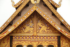 Thai art on ancient Church . Royalty Free Stock Photos