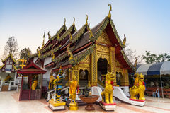 Thai art church in Thai temple. Northern style Thai art main church in Thai temple stock photos