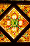 Thai art decorative ceiling at the temple of Thailand. Stock Photography