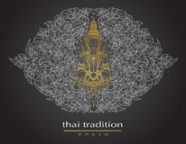 Thai art element Traditional of buddha flowers Royalty Free Stock Images