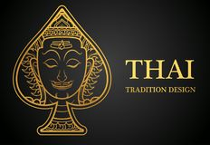 Thai art element Traditional design gold for greeting cards,cover Stock Image