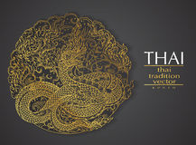 Thai art element Traditional gold for greeting cards royalty free illustration