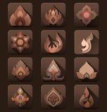Thai art flat icons vector collection Stock Photos