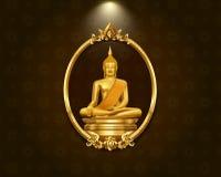 Thai art frame border pattern and buddha statue. Hi detail vector illustration stock illustration