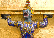 Thai art giant and monkey statue Stock Photo