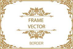 Thai Art, Gold border frame with thailand line floral for picture, Vector design decoration pattern style.frame corner design is p. Attern Royalty Free Stock Photos