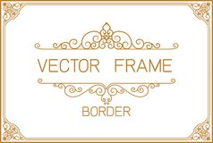 Thai Art, Gold border frame with thailand line floral for picture, Vector design decoration pattern style. frame corner design is royalty free illustration
