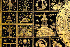 Thai art gold painting. On blackground Royalty Free Stock Photography