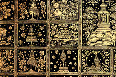 Thai art gold painting. On blackground Stock Photo