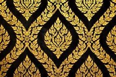 Thai art gold paiting pattern. On door Stock Photos