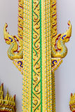 Thai art golden of head king of nagas Royalty Free Stock Photos