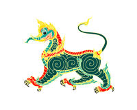 Thai art lion. Or sigha. Detailed  illustration Royalty Free Stock Photo