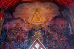 Thai art mural wall paintiing around inside of main church of Wat royalty free stock image