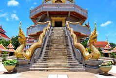 Thai art, Naka statue on staircase balustrade royalty free stock image