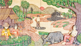 Thai art in old native life. With buffalo Stock Image