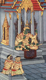 Thai art painting on the wall Stock Images