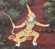 Thai art painting on the wall Royalty Free Stock Images