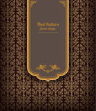 Thai art pattern on brown background, flower style, thai pattern banner.vector. Illustration Stock Image