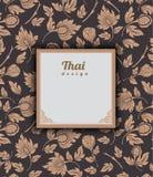 Thai art pattern on brown background, flower style, thai pattern. Banner.vector illustration Stock Images