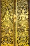 Thai art. Pattern of Thai art on the door royalty free stock photo
