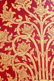 Thai art red gold wall Royalty Free Stock Photography