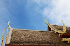 Thai art on roof Church at Thai temple. For background royalty free stock images