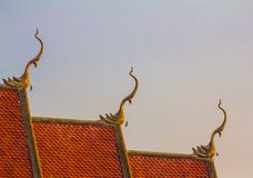 Thai art on roof Church at Thai temple stock photos