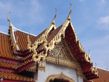 Thai art of the roof of the Marble Temple. Unique Thai art of the roof part of the Marble Temple, Bangkok, Thailand Stock Image