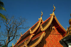 Thai art of serpent on roof church in Thai temple. Royalty Free Stock Image