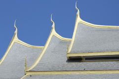 Thai art of serpent on roof church in Thai temple.  Stock Photo