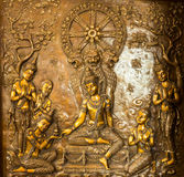 Thai art stucco on the wall of church Stock Photo